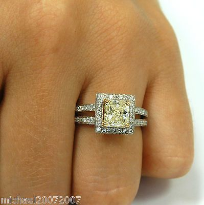 FANCY CANARY YELLOW DIAMOND RING / RADIANT CUT / 100% NATURAL ~SEE VIDEO NOW~