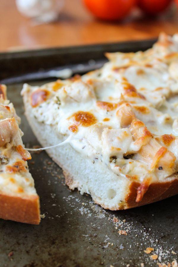 French Bread Pizza, 3 Ways including Tomato Pesto, Alfredo Chicken, and Pepperoni