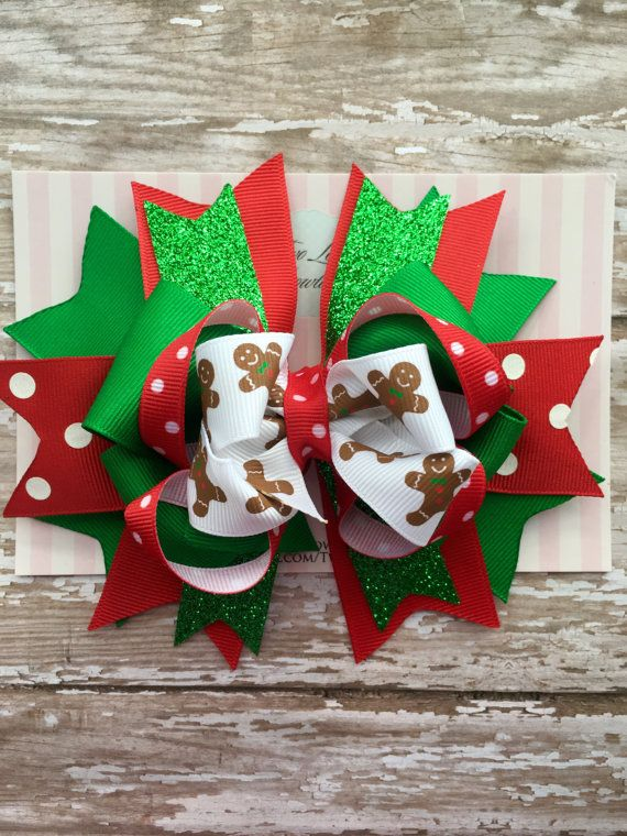 Christmas hair bow big hair bows big bows by TwoLovesBowtique                                                                                                                                                                                 More