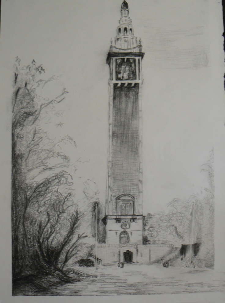 charcoal drawing of Richmond's carillon.