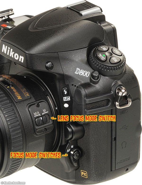 How to use the Nikon D800 and D800E AF Mode switches