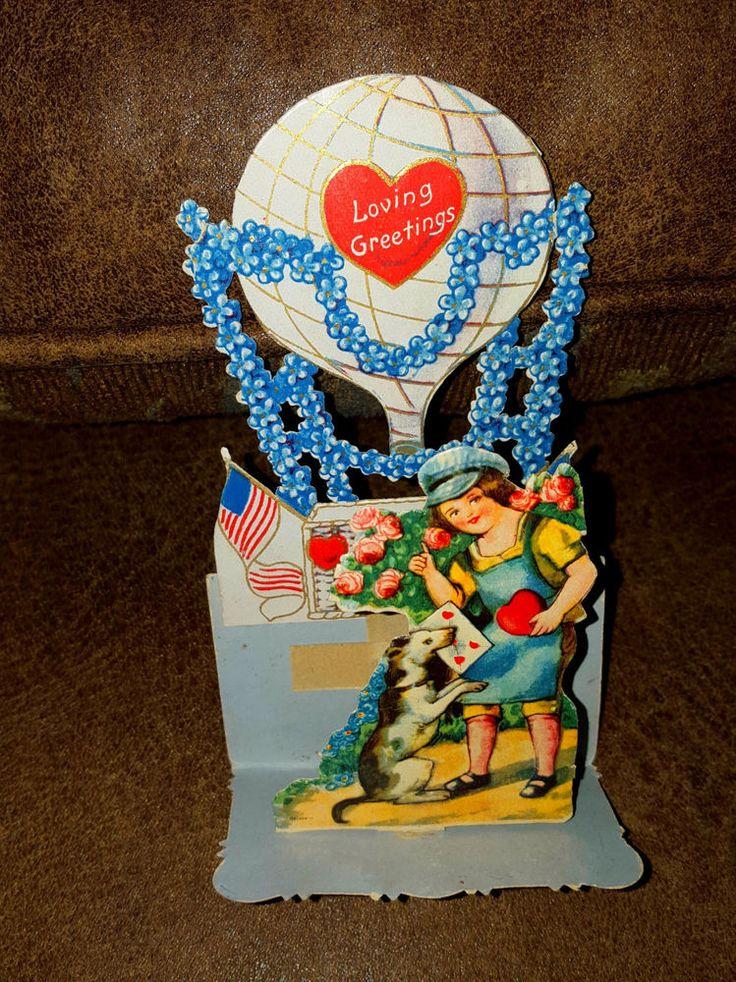 old valentine card 3D layered beautiful usa flag