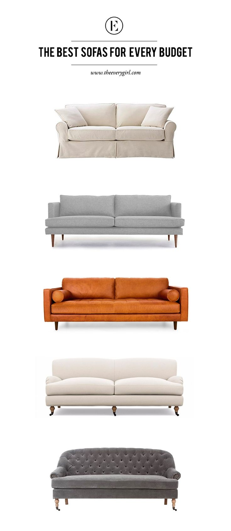 The 20 Best Sofas Under $2000 #theeverygirl