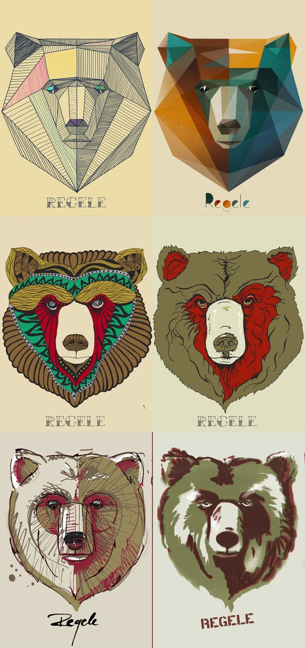 Different Bear art, I love the second and third image on here the most, the bear is very geometric and I feel could be used across the other types of animals!