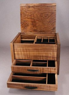 handcrafted wood jewelry box with inlay banding