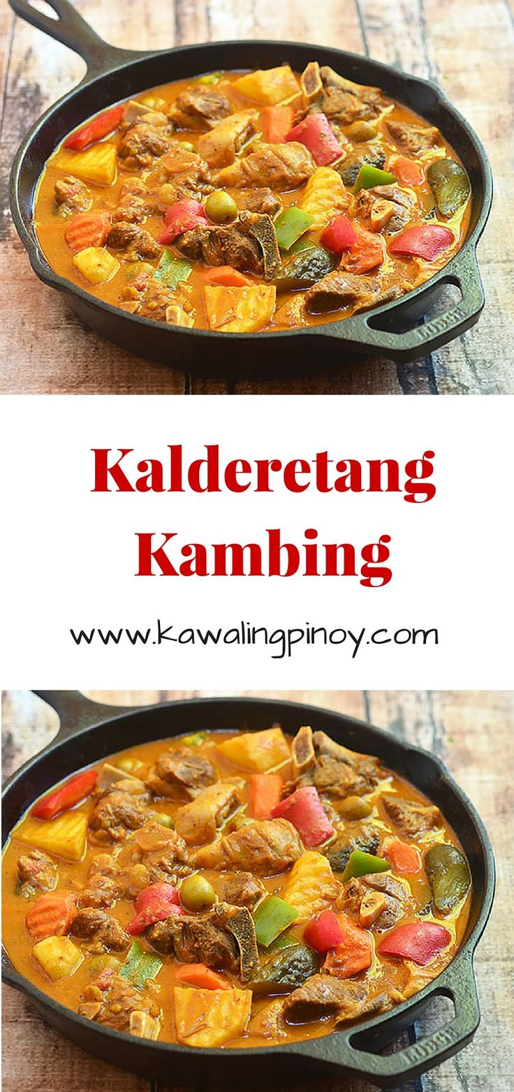 Kalderetang Kambing is a thick and hearty stew made with goat meat, potatoes and carrots braised in a tomato and liver sauce