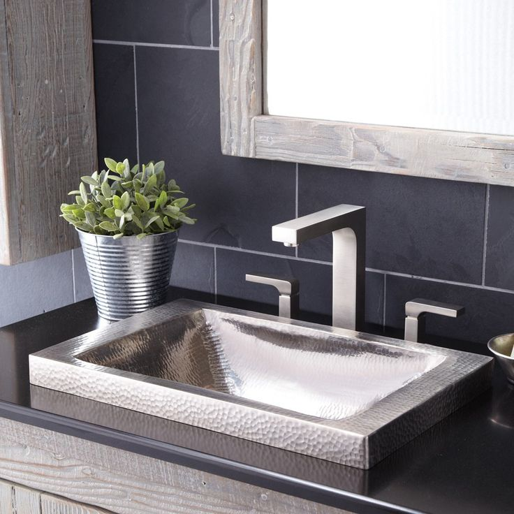 With defining texture and unique sloped bowl, this copper drop-in sink provides for easy installation; a raised profile shows off more of the gorgeous hand hammered copper.