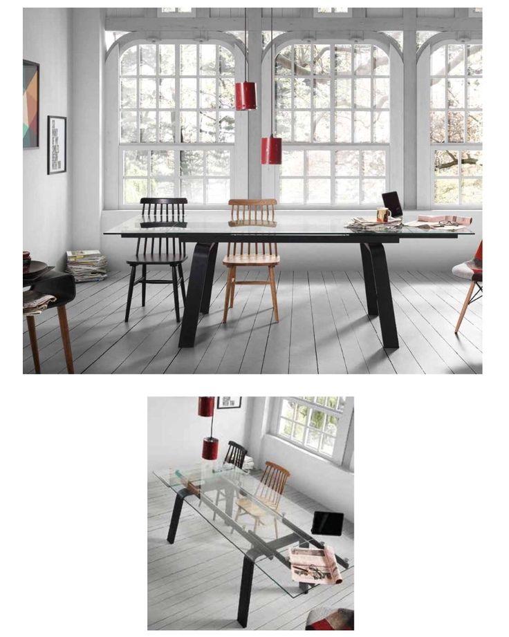 Spisebord modell TUSCAN.  www.mirame.no  #bord #spisebord #kjøkken #spisestue #mirame #interior #interiør #nettbutikk #vakrehjemoginteriør #nordiskehjem #nordiskdesign #innredning #glass #tuscan #norsk #oslo #møbler #glassplate #metall #uttrekkbart #kjøkkenbord