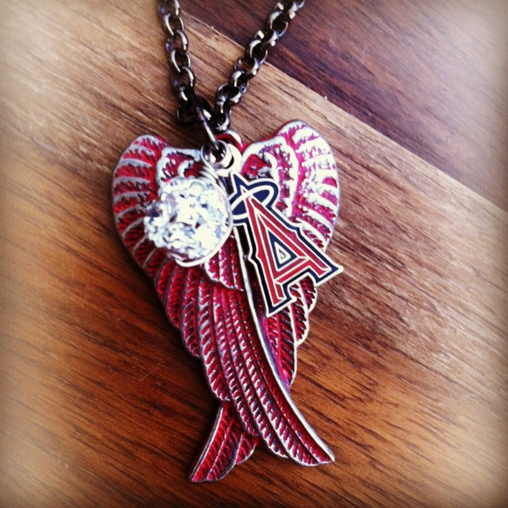 Yup...Pretty sure I need this <3  Red patina Angel Wings and Anaheim Angels Big by alliefayedesigns, $25.00