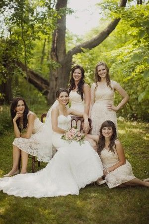 Cream Colored Lace Bridesmaids Dresses | http://www.genevieverenee.com/