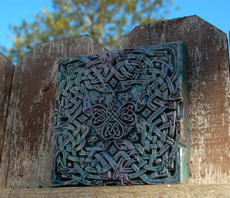 Celtic Clover Garden Art Stone Sculpture Wall Hanging. $20.00, via Etsy.