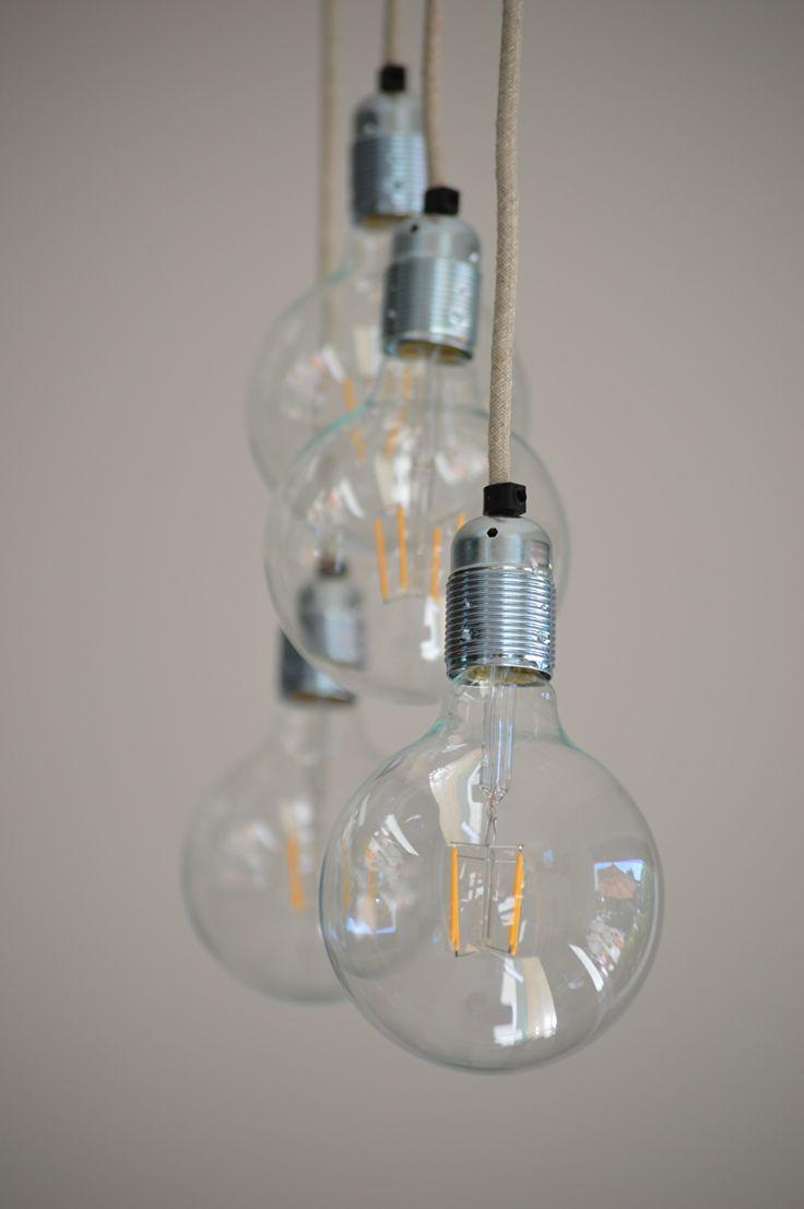 Hanglamp met meerdere lampen en strijkijzersnoer, industrieel | industriële lamp | lekker fris door VanStoerHout