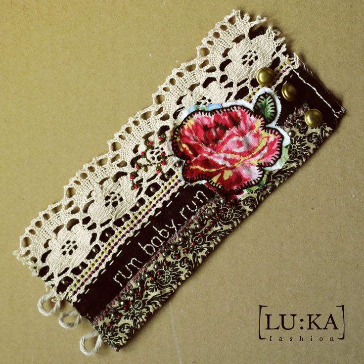 Gypsy Bracelet  Completely made by hand in romantic punk style. Elaborated and patiently embroidered, beaded, full of small stitches and details. Each piece is unique. This piece is called Run, baby, run and is made in black/off white/fuchsia/pink/red/brown palette.  37€+PP  info@lukamoda.com