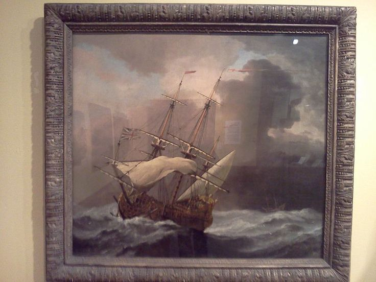 An English Man-o-War in a Gale painted in 1680's