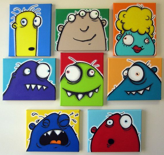 a WaLL fULL oF UgLiEs - set of 8 8x10 original paintings on multiple canvases for kids room or nursery, monster art, monster paintings
