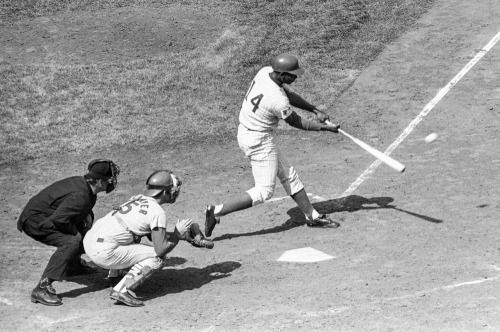 "sportingnewsarchive: "" TODAY IN SPORTS HISTORY: Sept. 19, 1969 — Chicago Cubs first baseman Ernie Banks connects with the ball for his 2,500th base hit of his major league career. The blow came off the pitching of St. Louis Cardinals Bob Gibson in..."
