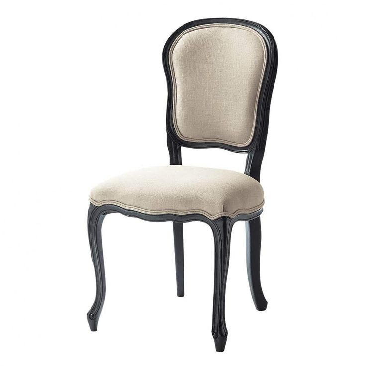Linen and wood chair in ecru and black Versailles