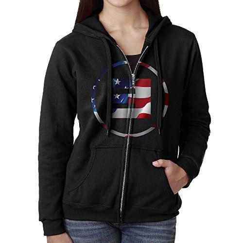 Women Eminem Big E Logo USA Flag Hoodie Sweatshirt Black * Want additional info? Click on the image.