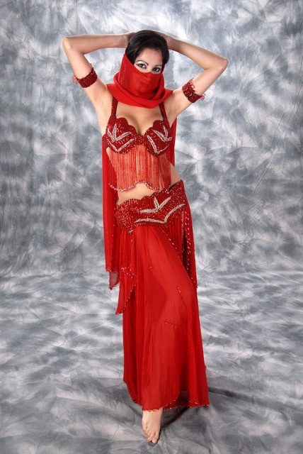 saturated red costume for bellydance