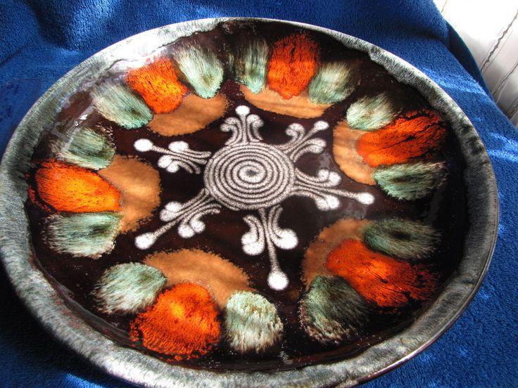 Vintage USSR Latvia Lettland Large ceramic plate stoneware handmade painting
