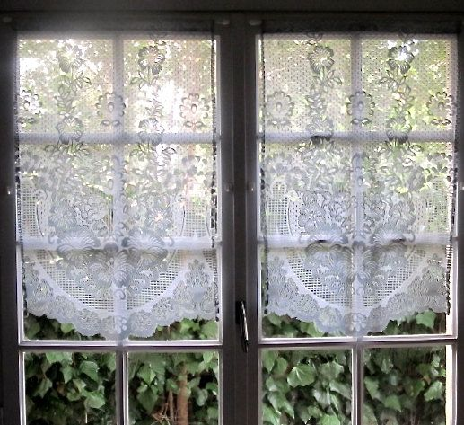 Grey Kitchen Curtains Pair French Lace Curtains Sheer Curtains Cottage Curtains Window