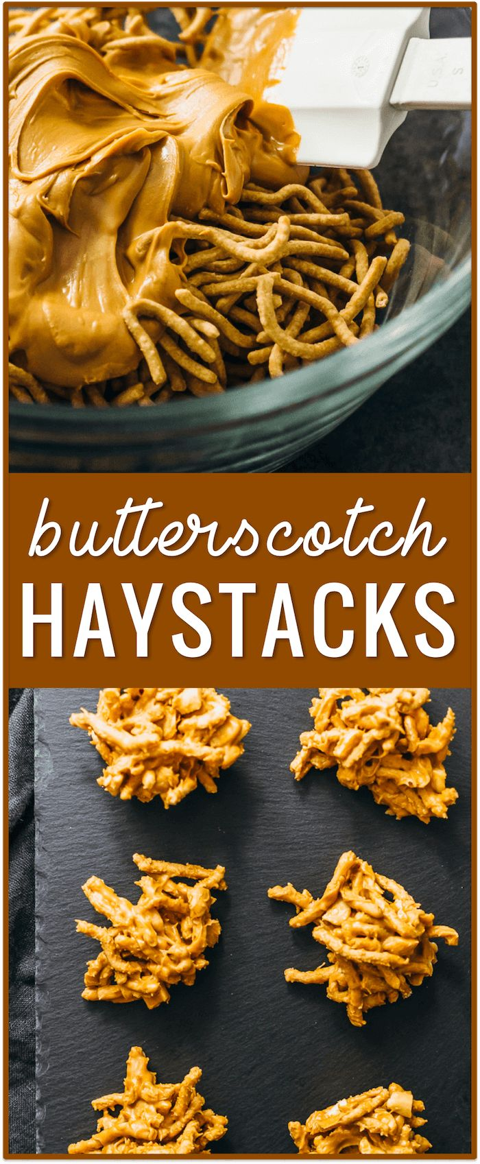 butterscotch haystacks with chow mein noodles, recipe, easy, dessert, marshmallows, peanut butter, christmas, pretzels, chocolate, no nuts, toll house, cookies via @savory_tooth