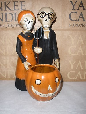 Yankee Candle Boney Bunch Gothic Farmer Couple/Pumpkin Votive Holder NEW HTF on eBay!