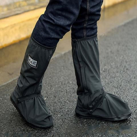 Pair Black Motorcycle Rain Boot Covers Waterproof Biker.