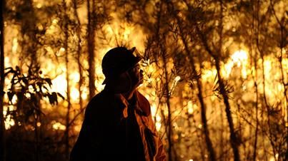 A NSW RFS firefighter assesses a bushfire burning close to homes on Patterson street at Springwood in the Blue Mountains west of Sydney. (AA...