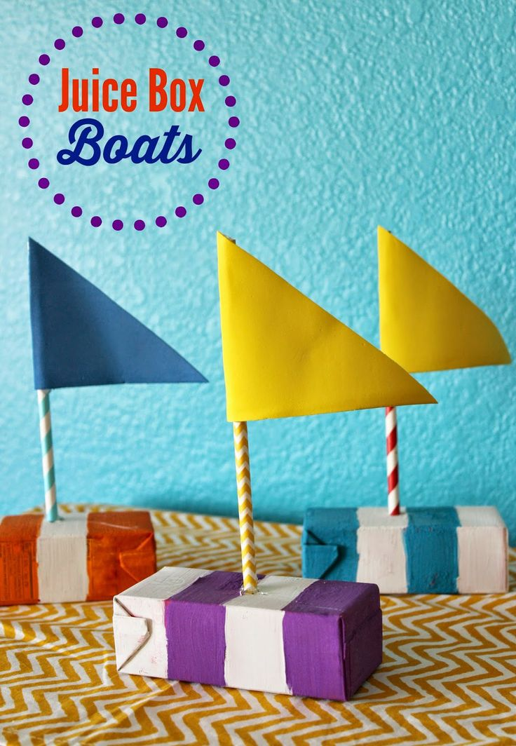 Make floating boats out of juice boxes!