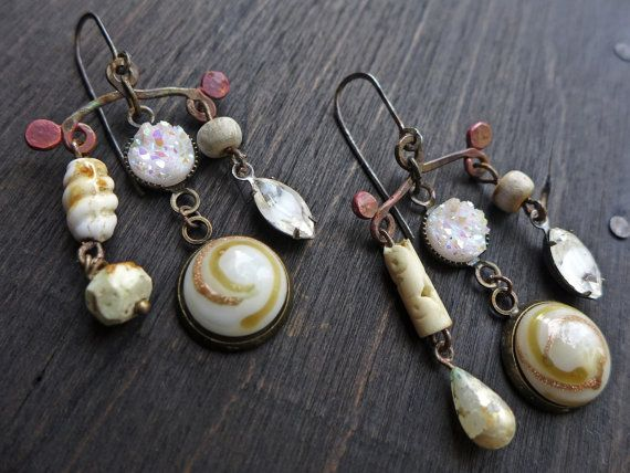 Famn rustic mixed media art earrings in shades by fancifuldevices