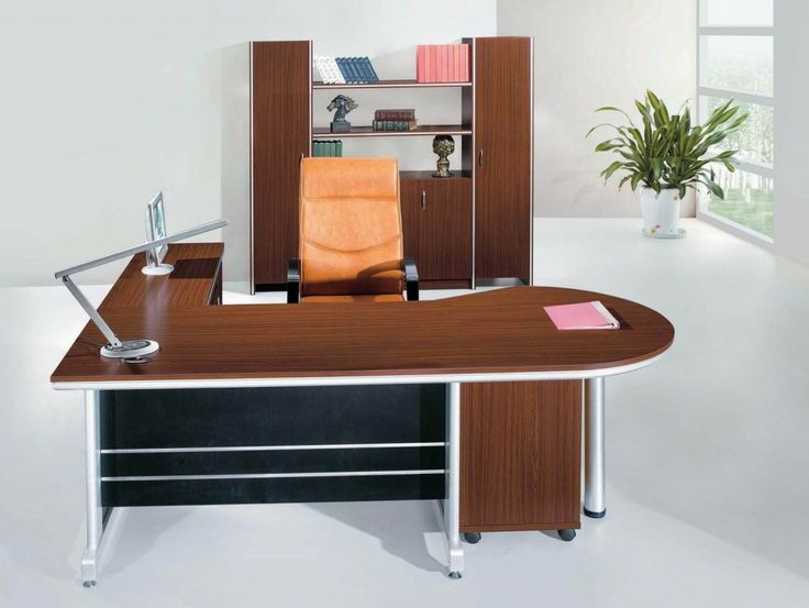 Office Workspace. Modern Office Chair With Futuristic Lacquer Sectional  Desk And Glossy Marble Floor
