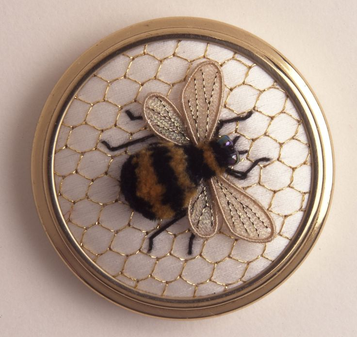 Bumble Bee stumpwork. Did this as a framed piece. Has very personal memory.