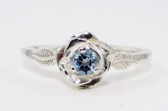Aquamarine Rose Ring  Sterling Silver by DreamyRings on Etsy, $45.00