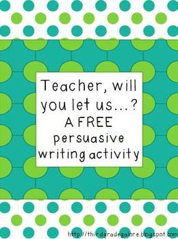 Persuasive Writing Activity- this gave me an idea! have students write persuasive letter as to why they should have a classroom pet!