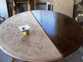 I have this exact table waiting to be refinished!! Re-stained and Painted White: Oak Pedestal Table And Chairs