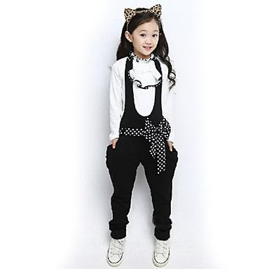 Girl's+Ruffle+Stand+Collar+Polka+Dots+Overalls+Clothing+Sets(Blouse&Overalls)+–+USD+$+19.99