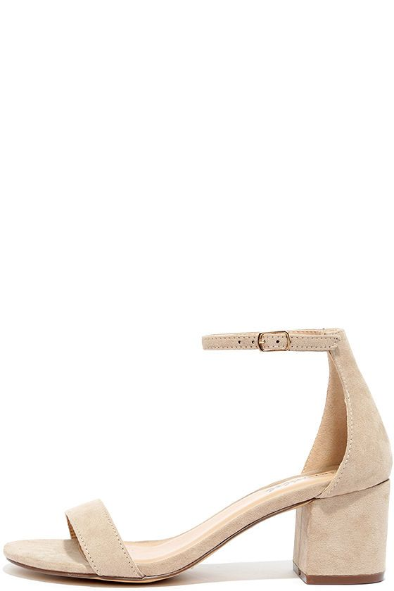 There's a version of the Babe Squad Natural Suede Heeled Sandals for every gal in your group! These versatile vegan suede heels have a minimal upper with adjustable ankle strap, plus a low block heel. Gold buckle.