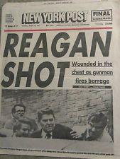 RONALD REAGAN SHOT 3.30 1981 NEW YORK POST Newspaper NYC Reggie Jackson