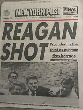 RONALD REAGAN SHOT 3.30 1981 NEW YORK POST Newspaper NYC Reggie Jackson
