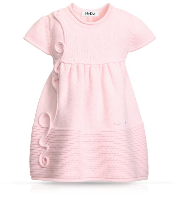 BABY DIOR - Pale pink pleated jersey dress
