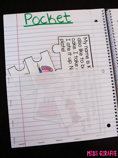 Phonics Fluency Notebooks - Create a pocket for interactive notebooks by cutting one page in half then stapling it to the next page! Lots of tips here!