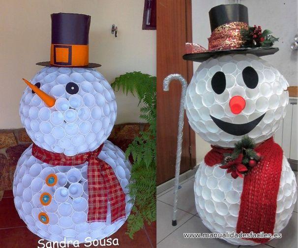 Les 25 meilleures id es de la cat gorie gobelet plastique sur pinterest gobelet en plastique - Comment faire un bonhomme de neige en papier ...