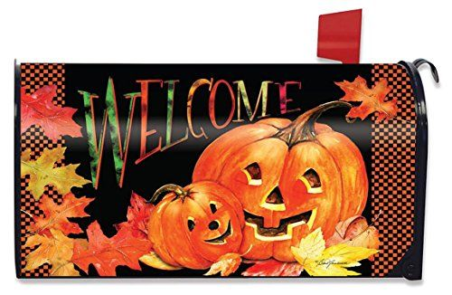 "Pumpkin Pals Halloween Magnetic Mailbox Cover Jack o'Lanterns Standard  Made to fit standard size steel mailboxes measuring 6.5"" x 19"" and includes 3 sets of self-adhesive address numbers  Fade resistant/All-weather vinyl with magnetic strips  Reusable; installs and removes in seconds without tools  Meets US Postal Requirements"