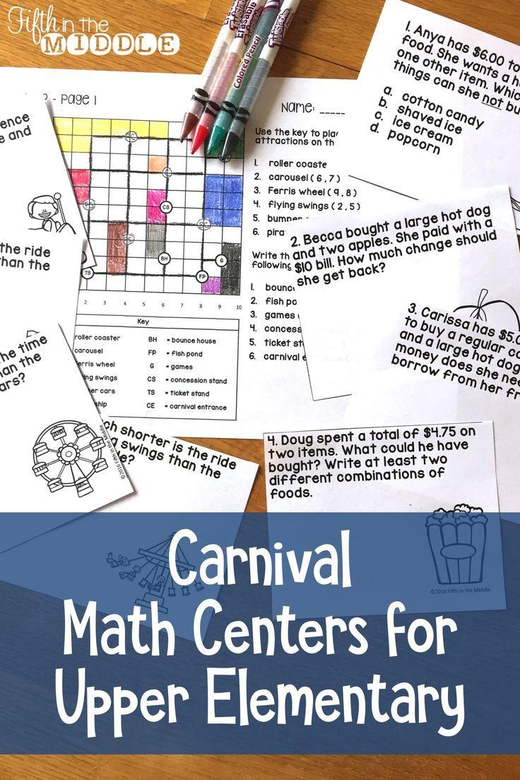 Carnival Math Centers For Upper Elementary Math Centers Upper Elementary Math Upper Elementary