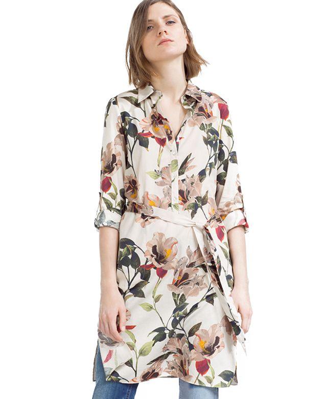 Tie Waist Floral Shirt Dress