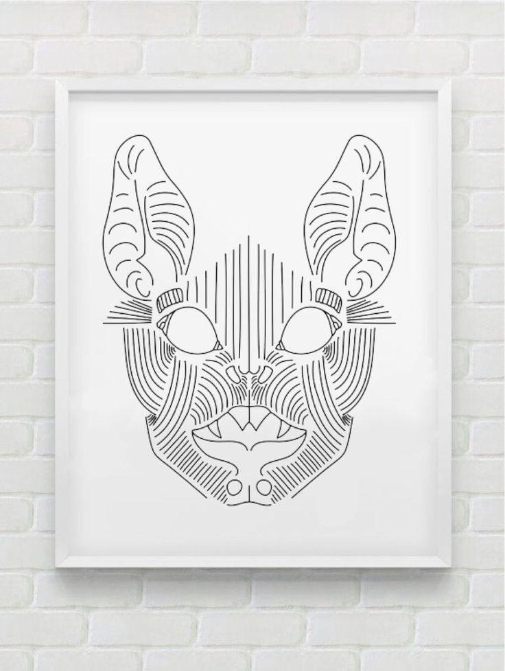 Clean Line Print - Bat Face by HHannahHHanes on Etsy  hannahchristenmichau.wix.com/hannahmichaud7