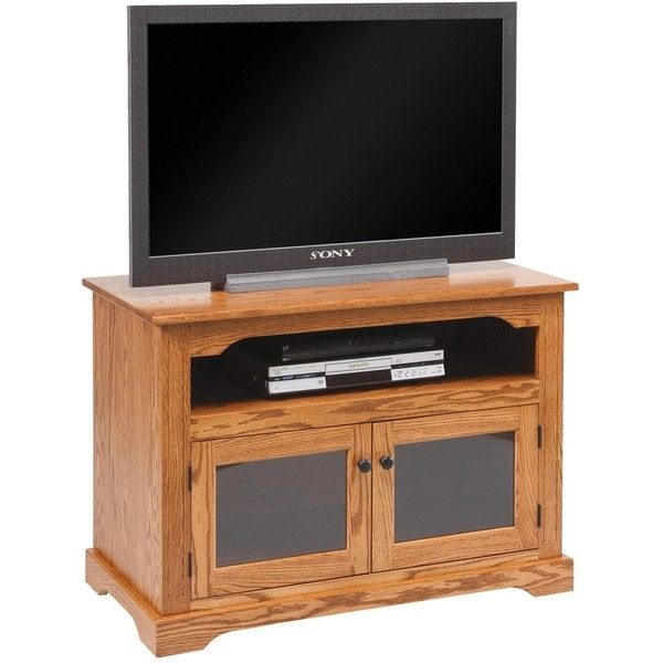 "Amish 40"" TV Stand with Glass Doors ($616) ❤ liked on Polyvore featuring home, furniture, storage & shelves, entertainment units, gray tv stand, grey media cabinet, gray furniture, handmade furniture and glass door furniture"