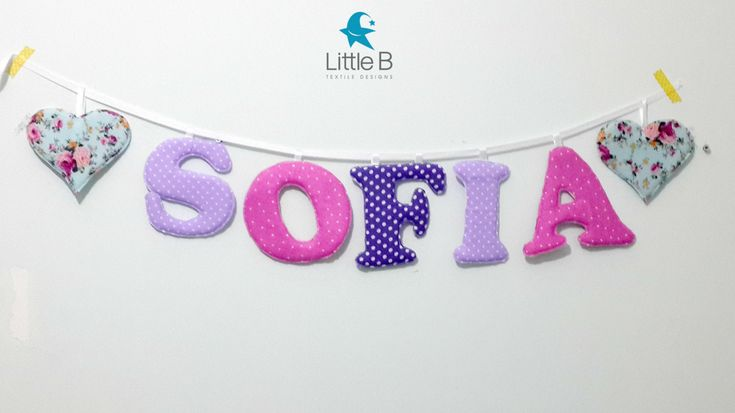 Sofia name banner,Nursery wall letters, Girl nursery letters, Wall hanging fabric letters, Pink nursery decor, baby shower gift by LittleBTextileDesign on Etsy