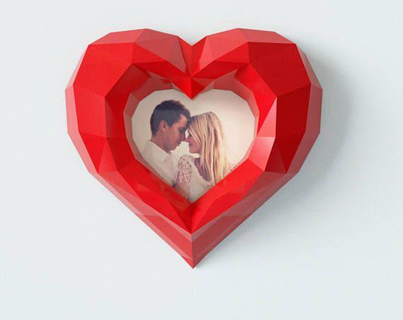 Heart PAPERCRAFT Photo Frame wallmount DIY PDF pattern